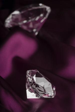 purple silk: Expensive Translucent Diamonds over Purple Silk Fabric