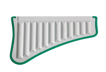 harmonica: Plastic White Toy Harmonica Isolated on White