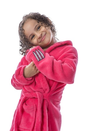 robes: Pretty Girl After Bath Isolated on White Background Stock Photo