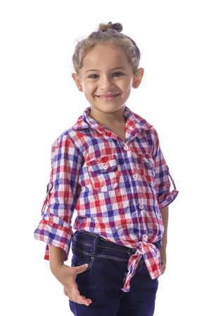 Beautiful Young Girl in Checkered Shirt and Jeans photo