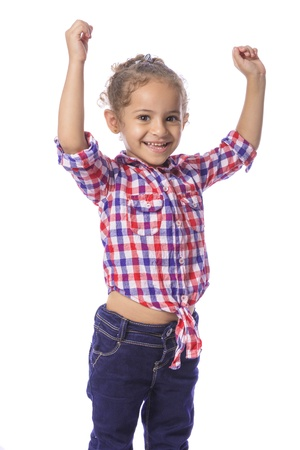 blue jeans kids: Beautiful Young Cheering Girl in Checkered Shirt and Jeans