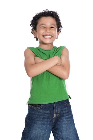 Cheerful Happy Boy Isolated on White Background Foto de archivo
