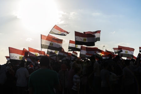 egypt revolution: People with Egyptian Flags - Alexandria, Sidi Gaber, 30 June 2013 Editorial