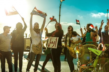 egypt revolution: Egyptian Girls Protesting with Flags and LEAVE Sign - Alexandria, Sidi Gaber, 30 June 2013
