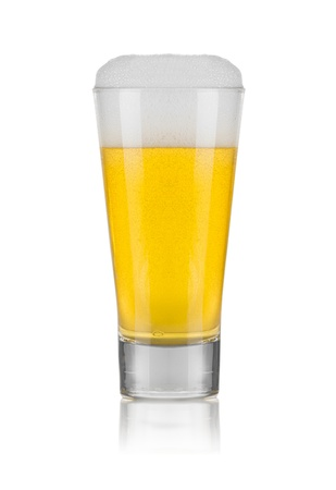 alehouse: Glass of Beer Isolated on White Background
