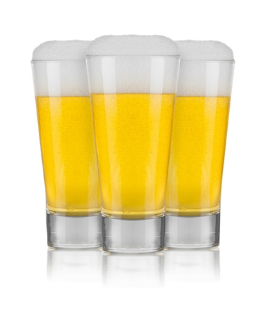 alehouse: Three Glasses of Beer Isolated on White Background