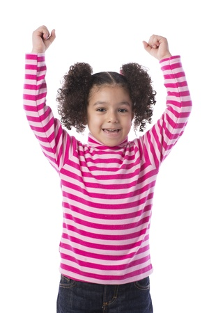 Little Girl Raising Her Arms Isolated on White Background photo
