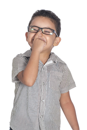 expressive mood: Funny Expression of A Little Child with Glasses Isolated on White Background