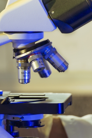 Closeup of Labratory Microscope Ready for Sample Testing Stock Photo - 23390213