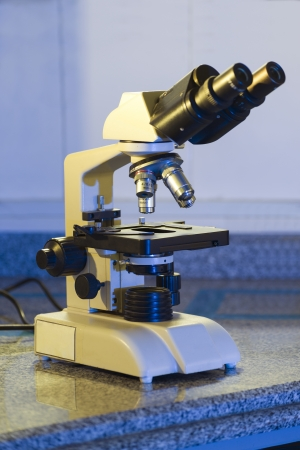 enhanced health: Labratory Microscope Ready for Sample Testing Stock Photo