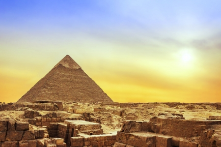 The Ancient Egyptian Famous Pyramid of Giza at Sunset