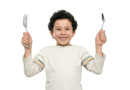 Hungry Boy With Fork and Spoon Ready for Lunch Isolated photo