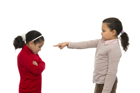 Two Sisters in Quarrel Isolated on White Background photo