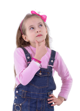 preparatory: A Confused Girl Thinking About Somthing Isolated on White  Stock Photo