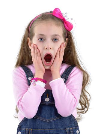 Shocked Young Girl Isolated on White Background Stock Photo