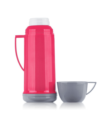 ceramic bottle: A Shiny Pink Thermos with Gray Cup Isolated on White