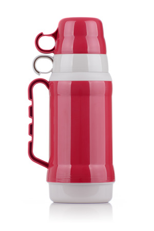 insulated drink container: A Shiny Red Thermos Isolated on White