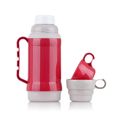 insulated drink container: A Shiny Red Thermos with Two Cups Isolated on White