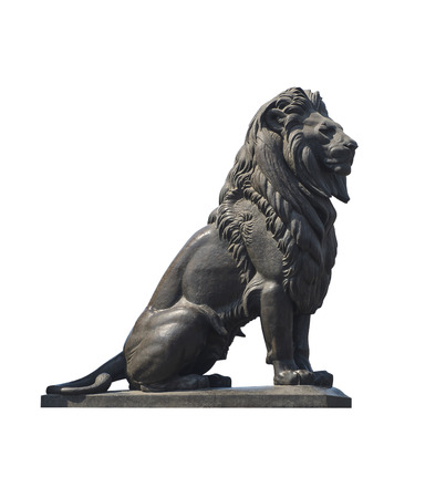 ancient lion: Qasr El-Nile Lion Statue Isolated on White
