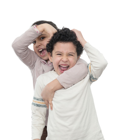 Brother and Sister in A Quarrel Isolated  photo