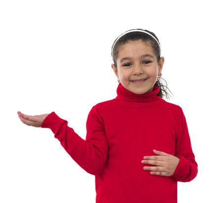 lenguaje corporal: Muchacha sonriente con la mano abierta aislada