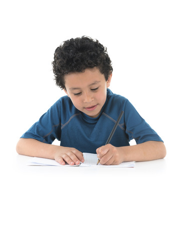 Young Boy Writing His Homework Isolated on White Background photo