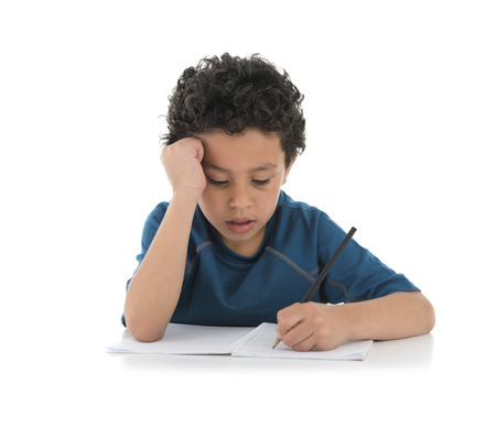 Young Boy Studing Hard Isolated on White Background Stock Photo