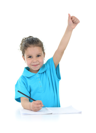 kids writing: Happy Successful Schoolgirl Isolated on White Background