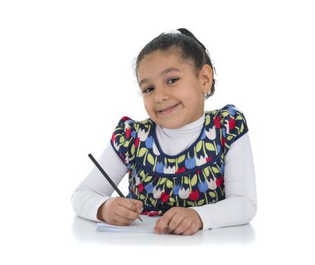 Happy Education Girl Isolated on White Background photo