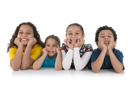 woman sitting floor: Group of Adorable Happy Kids Isolated on White Background