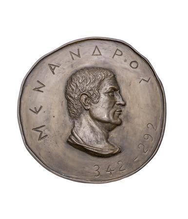 greek coins: Greek Novelist Menander on Ancient Bronze Medal