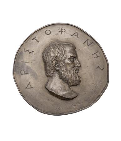 greek coins: Greek Novelist Aristophanes on Ancient Bronze Medal