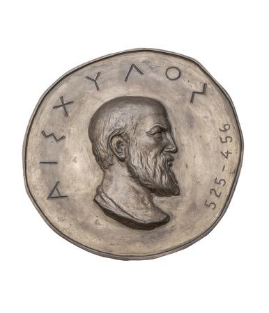 novelist: Greek Novelist Aeschylus on Ancient Bronze Medal Stock Photo