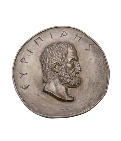 novelist: Greek Novelist Euripides on Ancient Bronze Medal