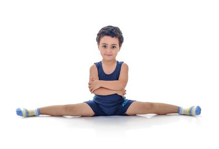 Full Split Boy Isolated on White Background Stock Photo