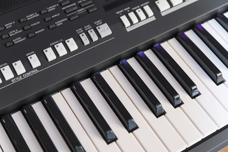 keyboard instrument: Closeup of Digital Musical Instrument - Electronic Piano Keyboard Stock Photo