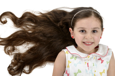 pervasive: Beautiful Smiling Girl with Beautiful Hair Isolated on White Background