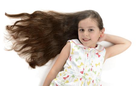 Beautiful Girl Beautiful Hair Isolated on White Background