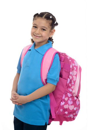 scholar: School Girl with Backpack Isolated on White Background