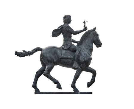 Statue of Alexander The Great Riding on Horse Isolated on White Background