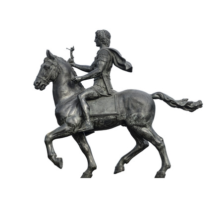 ancient egyptian civilization: Statue of Alexander The Great Riding on His Horse Isolated on White Background