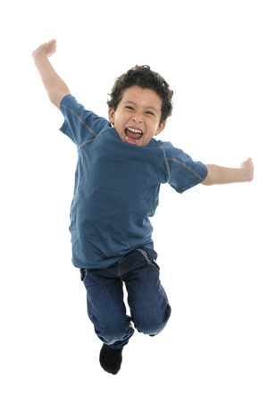 Active Happy Boy Jumping with Energy Isolated on White Background