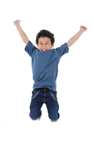 Active Happy Boy Jumping High Isolated on White Background Standard-Bild