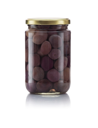 Glass Jar of Pickled Black Olives Isolated on White Background photo