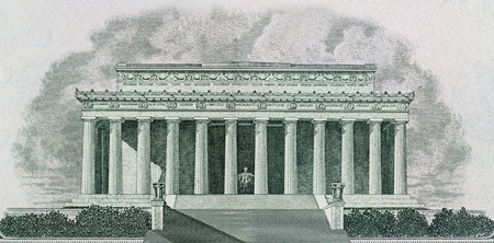 lincoln: Drawing of Lincoln Memorial in Washington DC Printed on Banknotes