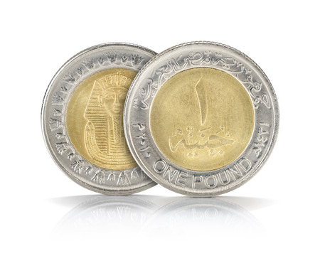 Front and Back Sides of One Egyptian Pound Closeup Isolated on White Background photo