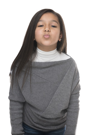 kissing lips: Little Young Girl Kiss Isolated on White Background