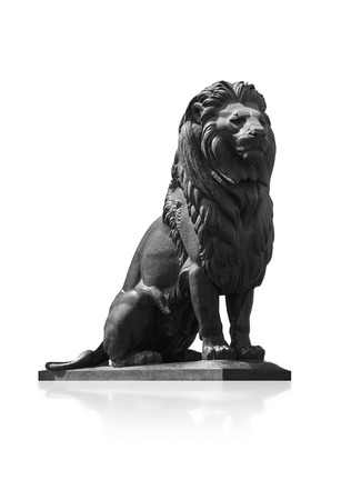 cairo: Qasr El-Nile Lion Statue Isolated on White Background