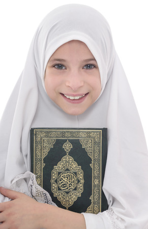 Pretty Muslim Hugging Loves Holy Book of Quran Isolated on White Background Stock Photo