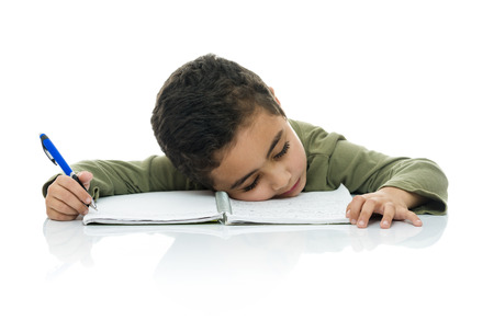 Young Studying Boy Tired Isolated on White Background